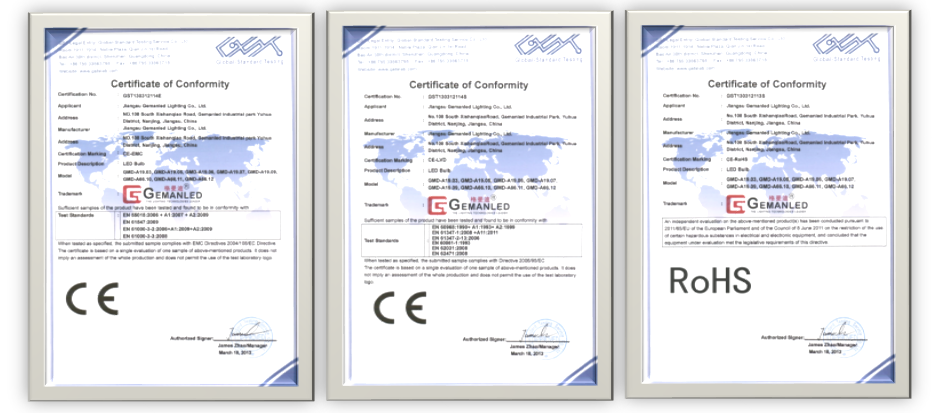 LED BULB ce AND ROHS CERTIFICATES