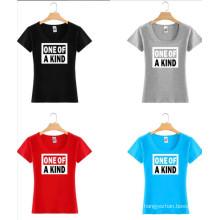 Camiseta colorida de encargo de la camiseta de las mujeres de la impresión del algodón de la moda