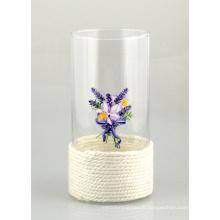 Vaso de vidro com corda de algodão e impressão bonita