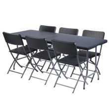 6FT Ротанг Пластиковый складной стол и стулья