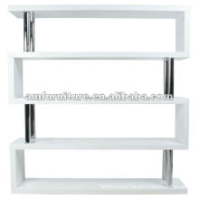 fashion MDF book shelf in high gloss white with chrome support