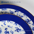 blue floral gild edge design porcelain ceramic tableware household reusable