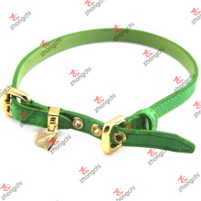 Fashion Green Leather Pet Collar with Gold Charms (PC15121411)
