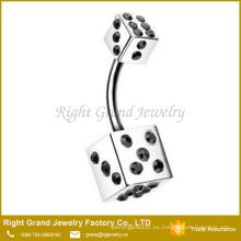 Anillo de doblez de cristal quirúrgico Jewelled 316L de acero quirúrgico