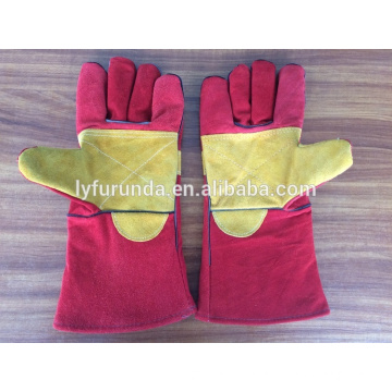 china 14 inches cow split leather welding gloves with reinforced full palm AB grade