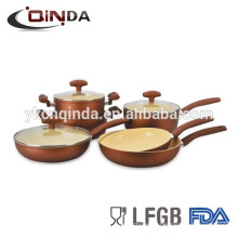 Forged aluminum gold ceramic cookware set