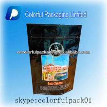 Preto levante-se malotes / sacos de empacotamento do chá do café do papel de embalagem com impressão