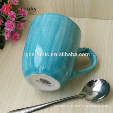 Mejor vendido FDA BSCI aprobado microondas taza de leche de cerámica azul seguro