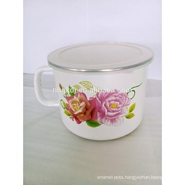 flower decals bulb handle enamel milk pot with PE lid