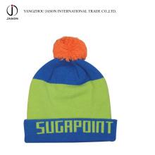 Turn up Bobble Hat Chapeau Bobble tricoté Turn up bonnet tricoté avec une toque acrylique Pompom Acrylique Beanie bonnet tricoté acrylique
