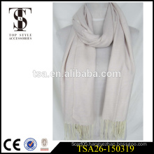 factory price solid color customized knitted acrylic scarf with long fringes