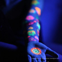 Tatuagens fotossensíveis Brilho no escuro humano falso arte corporal temporária tatuagem adesivo