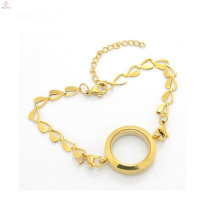 2018 China wholesale suppliers gold plain stainless steel floating pendant bracelet