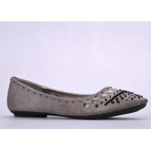 Pointed Toe Autumn Studs Ladies Flat Pumps Shoes , Spring Canvas Lining