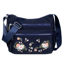 Bolsa de ombro pequena em nylon bordado bolsa feminina