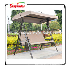 3 seats metal garden steel swing chair outdoor with roof
