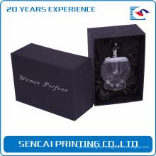Caja de perfume vacía de papel de lujo negro pequeño personalizado