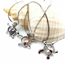 Silver Tone Copper Pearl Beads Cage Pendant Necklace