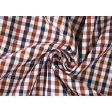 Verificación marrón/azul marino Sarga 60 algodón 40 camisas de poliéster
