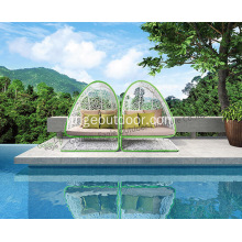 Outdoor+Garden+Sunbed+with+Tent+PE+Rattan+Sunbed