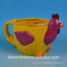 Vente en gros de pot de fleurs en céramique avec figurine de coq