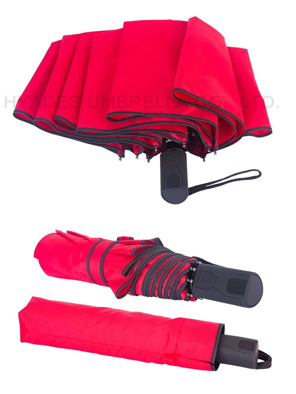 3 Folding Umbrella Plain Color Red