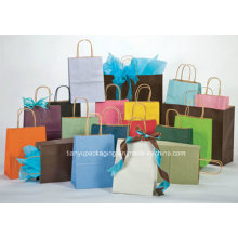 Tous les types de sacs en papier Kraft avec poignées, personnalisés acceptés