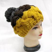 Mujeres Caliente Beanie Crocheted Sombrero de punto con Pompom