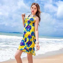 Casual férias vestido bali sarong chiffon cachecol praia colorida pareo