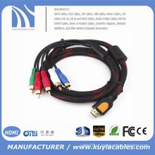 HDMI macho para 5 RCA AV cabo de áudio componente de vídeo 1.5 mw / net para HDTV DVD Player 1080p