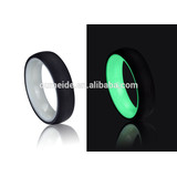 Carbon fiber glow ring titanium steel gear ring, custom wedding couple ring