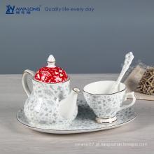 Antiguidade chinesa azul porcelana branca chá pote pires pires