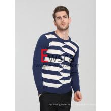 Listras Coloridas Masculinas Combinadas Com Suéter De Cashmere Puro