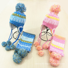 Kids Children Winter Earmuff Warm Letter Printing Scarf Hat Set Knitted Scarf (SK422S)