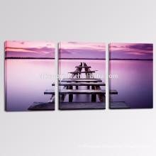 3 Panel Calmness Picture Print on Canvas/Wholesale Lavender Color Sea Wall Art/Wood Bridge Canvas Art