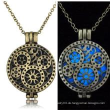 Alte Fasioned Halskette Zahnrad Anhänger Halskette Silber Kette Halskette