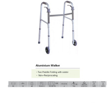 Caminante plegable de dos paletas con ruedas