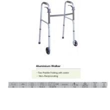 Walker dobrável com duas rodas com rodízio