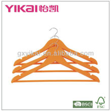 Orange color wooden shirt hanger with round bar and U notches