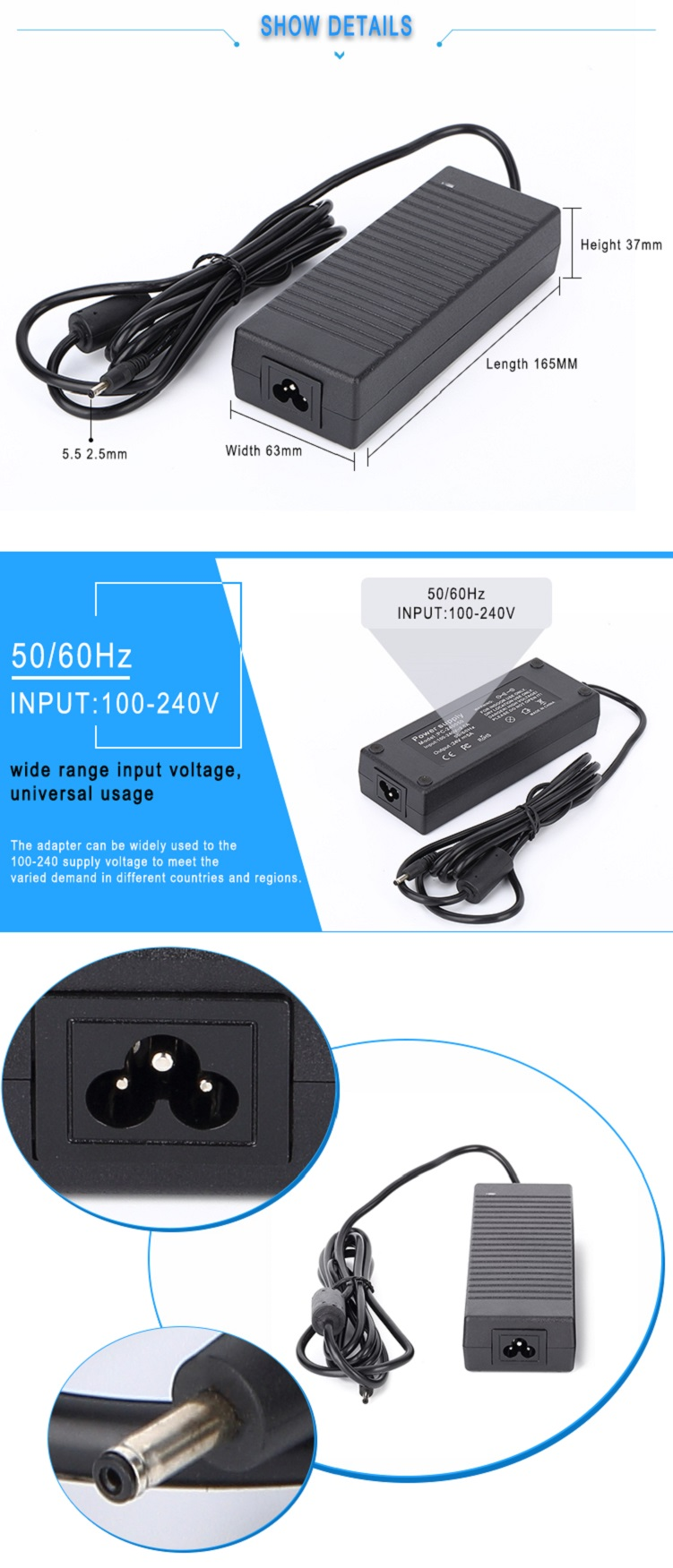 AC DC adapter 25V 4A 100W