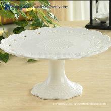 Forma redonda Pretty Design Placa de fruta caliente de venta con pie, Placa de fruta de cerámica blanca barata