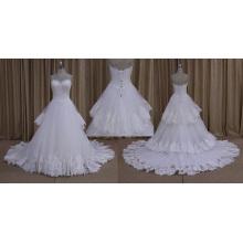 Ly-008 gros couche dentelle tulle grande frontière robe de mariée 2016
