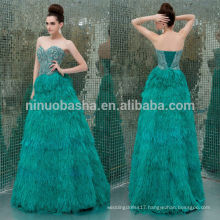 Gorgeous 2014 Teal A-Line Formal Evening Dress With Feathers Sweetheart Full-Length Crystal Bodice Lace-up Wedding Gown NB0820