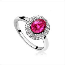 VAGULA rodada moda Zircon anel de prata