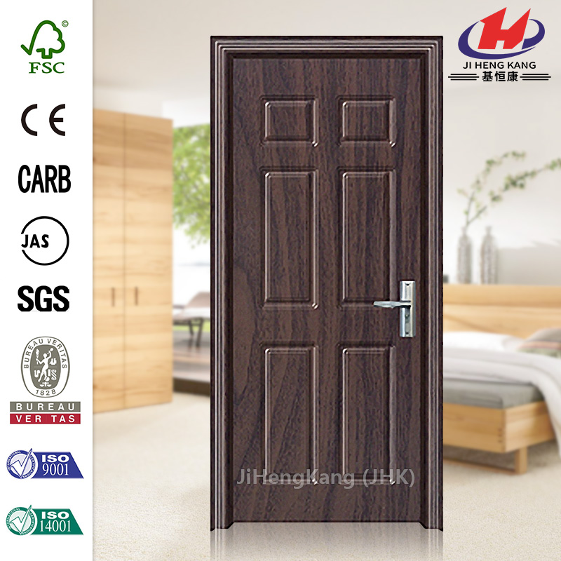 6-Panel Fiberglass Frosted PVC Glass Interior Swing Door