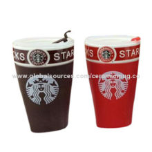 Wholesale Starbuck V-Shaped Ceramic Mug With Food-Safety Plastic CoverNew