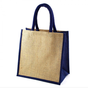 Custom dark blue jute handle bag
