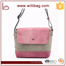 China Factories Sale Fashion Genuine Leather Canvas Woman Shoulder Bags
