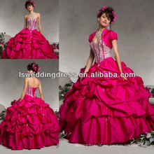 HQ2051 Cerise tafeta shinny heavy beaded bonned top bubble skirt lace up back ball gown bling wedding dresses ball gown