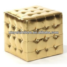 Gold leather cover eventing ottoman XY0309